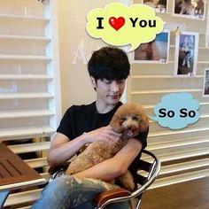 "sunghoon says "" I love u"" cute puppy says "" so so"" hahaha.  Source from Sung Hoon International Fanpage Instagram Sung Hoon Support"
