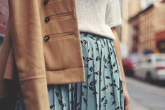 JennifHsieh #Outfit | Camel Military Coat, White Knit Sweater, Sky Blue Bird Printed Pleated Skirt