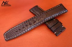 Custom made strap for Vostok Europe watch. Black ostrich. www.mkleathers.pl