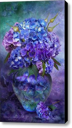 Hydrangeas In Hydrangea Vase Stretched Canvas Print / Canvas Art By Carol Cavalaris