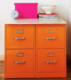 Paint ugly file cabinets with this Tutorial.  AND 45 BEST Weekend Lifestyle DIY Tutorials EVER. DECOR, FURNITURE, JEWELRY, FOOD, WHIMSEY, PARTY from MrsPollyRogers.com