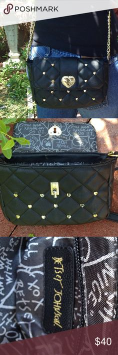 BETSY JOHNSON Crossbody Bag Like new black Betsy Johnson Crossbody Bag. Goldtone Hardware. Slight scratch on buckle hardly noticeable picture 4. Otherwise a perfect bag. Price firm. Betsy Johnson Bags