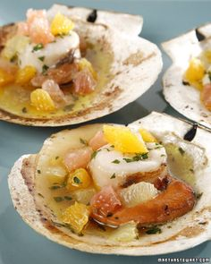 Grilled Scallops in the Half Shell with Citrus Fruits and White Wine - Martha Stewart Recipes