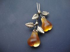 Vintage Austria Double Glass Pear Fruit Brooch Pin Orange