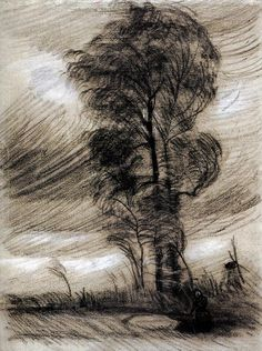 Vincent van Gogh (Pays-B. 1853-1890), Paysage à la tempête, 1885, étude, craie sur papier, Van Gogh Museum, Amsterdam