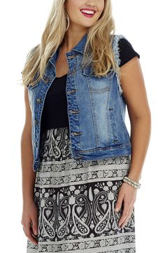 Stretch Denim Vest indigo Blue tyle No: V006 Stretch Distressed Denim Vest. This cool Vest has Frayed armholes. It features front chest pockets and side welt pockets on the front. #dreamdiva #dreamdivafiles #plussize #fashion