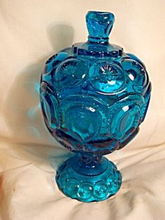 aqua blue depression glass candy dish | Blue Glass Covered Candy Dish Unique Cover (Glass - Art Glass - 40 ...
