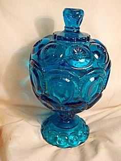 aqua blue depression glass candy dish | Blue Glass Covered Candy Dish Unique Cover (Glass - Art Glass - 40 ...