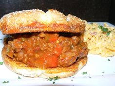Sloppy Joe Kicked Up with Jalapeno, Dijon, and Pepper Flakes on a Soft Grilled Crustini Bun