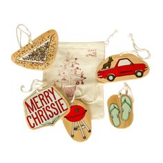 Iconic Aussie Christmas decorations (set of 5)