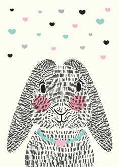 bunny rabbit with repeating line texture Illustration Mignonne, Cute Illustration, Lapin Art, Bunny Art, Kawaii, Art Plastique, Easter Crafts, Nursery Art, Art Lessons