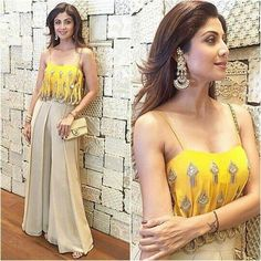 Shilpa Shetty Pairs Glamorous Coordinates On Bipasha's Mehandi Ceremony! Indian Gowns Dresses, Indian Fashion Dresses, Dress Indian Style, Indian Designer Outfits, Indian Wedding Guest Dress, Indian Wedding Outfits, Indian Outfits, Wedding Guest Attire, Anarkali