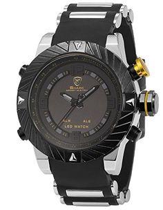 Shark Mens Digital Date Day Alarm LED Black Rubber Waterproof Sport Quartz Wrist Watch SH168 >>> Click image to review more details.