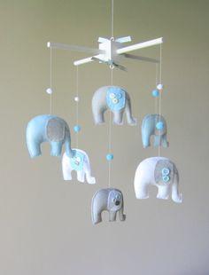 Baby crib mobile, nursery, elephants...Baby Mobile by LoveFeltXoXo