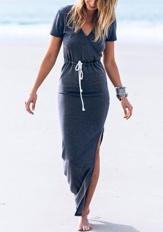 Going on a holiday? Don't leave without packing this Waikawa gray drawstring maxi dress.