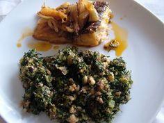 Bacalhau Assado com Migas de Feijão frade com Couve e Broa