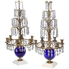 Pair of Russian Neoclassical Cobalt Blue Glass and Bronze, Six-Light Candelabras 1