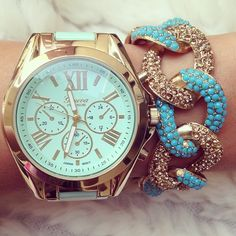 Baby blue Guess watch