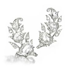 A Pair of Diamond and Platinum Ear Clips, by Bhagat. Via FD Gallery, www.fd-inspired.com