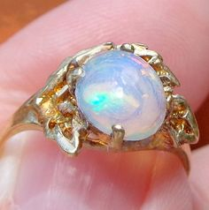Welo Opal sz 7 Solid 10k Gold Vintage Ring by JanesGemCreations, $165.00