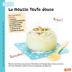 La recette de la mousse d'avocat avec du fromage blanc. (Extrait du magazine Astrapi n°841, pour les enfants de 7 à 11 ans).
