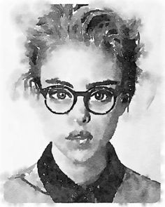 Hipster woman in watercolor
