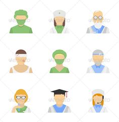 Medical employee icon set  #GraphicRiver         Vector icons set of medical employees characters in modern flat design style.