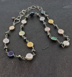 """Gifts $200-$500 - Susan Schaps Coin Pearl & Pyrite Necklace - Sterling Silver, Coin Pearl and Pyrite Necklace, 20"""""""