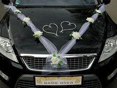 ORGANZA M + HERZEN Auto Schmuck Braut Paar Rose Deko Dekoration Autoschmuck Hochzeit Car Auto Wedding Deko Ratan Girlande PKW (Ecru / Weiß / Weiß)