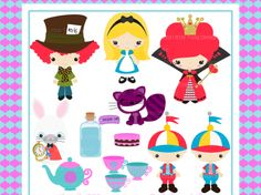 Alice in Wonderland Digital clip Art Clipart Collection- Personal and Small Commercial Use | Meylah
