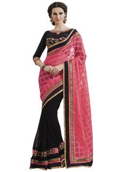 Pink designer party wear sarees online from hdbazaar