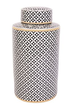 large storage jar in graphic black and white with gold accents