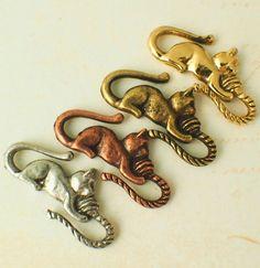 1 Cat S-Hook Clasp YOU PICK Antique Copper Antique Gold