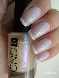 Thin white tips french mani #polish #nail design #bridal #CND's Sparkle Effects