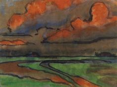 EMIL NOLDE Marschlandschaft unter Roten Wolken (Marsh Landscape Under Red Clouds, c.1920)