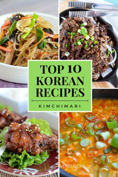 Top 10 Korean recipes that are most popular on Kimchimari. From Korean BBQ and fried chicken to Korean glass noodles and spicy soft tofu stew, these are the recipes most enjoyed by Korean food lovers. via food Top 10 Korean Recipes that You Have to Try Mexican Food Recipes, Dinner Recipes, Ethnic Recipes, Korean Food Recipes, Chinese Recipes, Korean Glass Noodles, Comida Keto, Cooking Recipes, Healthy Recipes