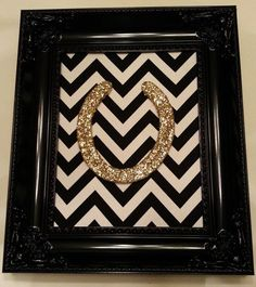 Framed Lucky Glitter Horse Shoe by LuckyPonyShop on Etsy..www.etsy.com/shop/luckyponyshop