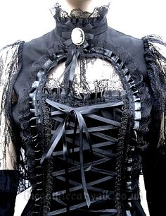 Gothic Victorian Black Lace Mourning Top - Steampunk