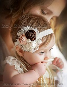 Baby Headband, Lace flower headband, newborn headband, Satin Rosette headband, Baby girl Headbands, toddler headband, Shabby Chic, hair bow. $10.95, via Etsy.: