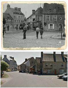 7 GIUGNO 1944: elementi della polizia militare  di guardia nella piazza di Sainte-Marie-du-Mont #NORMANDIA1944