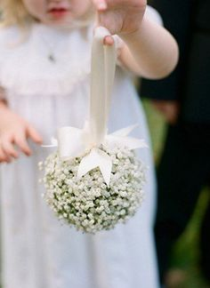 Perfect for very young flower girls! We have a winner! This combines the baby's breath and the flower ball. / / Classic Wedding by Melissa Schollaert « Southern Weddings Magazine Flower Girl Bouquet, Flower Girl Basket, Flower Girls, Flowergirl Flowers, Flower Girl Wand, Bouquet Flowers, Blue Flowers, Floral Wedding, Diy Wedding