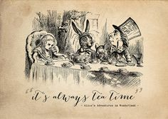 alice in wonderland 'tea time' print by i am nat | notonthehighstreet.com