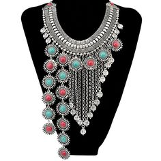 Bohemia Style Faux Turquoise Round Chain Fringe Necklace #shoes, #jewelry, #women, #men, #hats, #watches