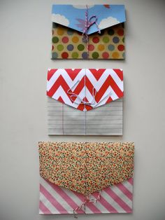 Make accordion envelopes by using paper giftbags