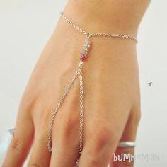 SALE 10% SHOP/ Delicate Labradorite Beads Crystal Gray and Plum, Wrist n Finger Bracelet. $18.60, via Etsy.