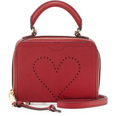 Rebecca Minkoff Love Perforated Box Crossbody Bag ($175) ❤ liked on Polyvore featuring bags, handbags, shoulder bags, red pattern, red purse, red heart purse, red cross body purse, crossbody shoulder bag and saffiano leather handbags
