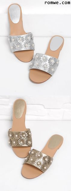 Faux Pearl Decorated PU Flat Sandals