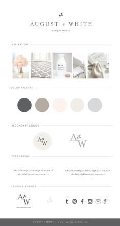 Soft neutral color pallet Brand Reveal: August + White Design Studio | Branding | Business Branding | Brand Board Ever wonder how designers create their own branding? Today I would like to take you through the process for when I rebranded earlier this year. More