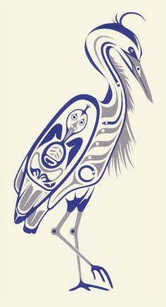 Blue Heron I serigraphie 2005 April White Haida Kunst, Inuit Kunst, Haida Art, Inuit Art, Native American Symbols, Native American Design, American Indian Art, Arte Tribal, Tribal Art