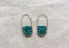 Turquoise Hoop Earring - Gold